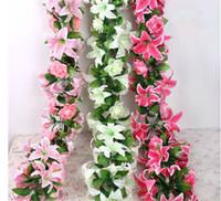 """Silk Rose Lily Vine 160cm / 62.99 """"Längd Konstgjorda blommor Rosor Liljor Rattan Flower Cane 3 Färger för Wedding Centerpiece"""
