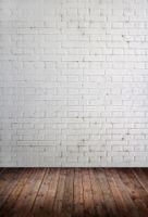 Pared de ladrillo y piso de madera Tema Vinilo Fotografía personalizada Telones Fondo de muselina Fotografía ZD-09