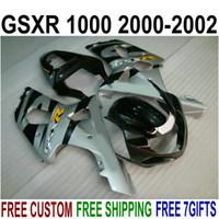 Personaliseer Motorfiets Onderdelen voor Suzuki GSXR1000 K2 2000 2001 2002 Silver Black Fackings GSX-R1000 00 01 02 Fairing Kit YR72