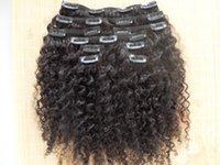 Atacado Brasileira Virgem Humana Remy Extensões de Cabelo Kinky Curly Clipe em Weaves Natural Color Black 9 Pcs Um Bundle
