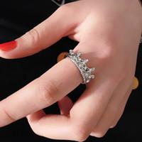 2015 Hot Womens Hollow Queen Crown Rhinestone Verzilverde Ring Bruiloft Sieraden