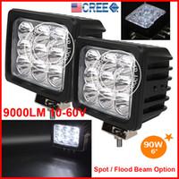 """2PCS 6 """"90W 9LED * 10W CREE LED guida di lavoro leggero fuoristrada fuoristrada SUV ATV 4WD 4x4 spot / fascio di inondazione 10-60 V 9000lm testa del camion Nebbia SUPER luminoso"""