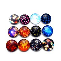 faddish 20pcs lot 18mm The moon and the stars Glass Snap But...