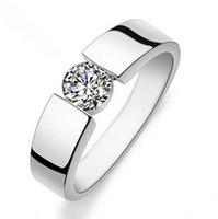 venta caliente brillante piedra de circón 925 hombres de plata de ley anillos / anillo de dedo de la boda regalo de la joyería del hombre