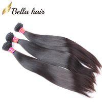 """100% Bakire Moğol Saç Demeti 3 Paketler İpeksi Düz Işlenmemiş İnsan Saç Uzantıları Saç Atkı 8 """"-30"""" Bellahair"""