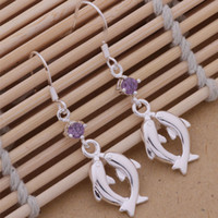 Moda (fabricante de la joyería) 20 piezas mucho Piscis con pendientes de diamantes 925 fábrica de joyas de plata Moda Shine Earrings