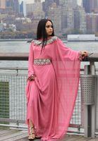 Melón de agua maxi largo del vestido de noche árabe de manga larga con cuentas de cristal Dubai kaftans Abaya jalabiya Vestidos fiesta 2015 Vestidos de Fiesta