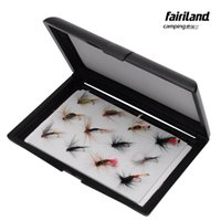 12pcs señuelos de la pesca con mosca para el salmón de trucha con medio negro doble lado EVA Insert Pad Fly Lure Hook caja de almacenamiento caja de aparejos de pesca