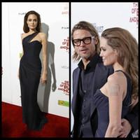 Angelina Jolie Red Carpet Dress Elegante Um Ombro Celebridade Vestido para As Mulheres Sem Mangas Vestido De Noite 2016