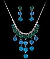 more color crystal drops wedding bride set necklace earings (ma52) guyuy