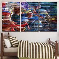 Bicycle Racing, 3 Pieces Home Decor HD Printed Modern Art Pai...
