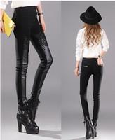 Хан издание противостоит подлинной моде женщин новый зимний теплый показ высокой талии сращивания стрейч узкие кожаные штаны. S - 2xl