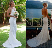 2017 Sexy Bohemian Mermaid Wedding Dresses Full Lace Pluggin...