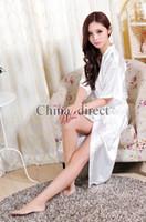 Унисекс мужские женские женские твердые однотонные шелковые с длинным рукавом халат пижамное женское белье ночная рубашка кимоно платье pjs женские платья 7 цветов # 3749