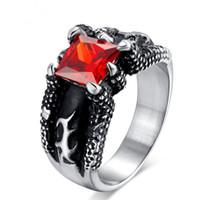 Al por mayor Nuevo diseño retro de los anillos para hombre del dragón garra Ajuste del diente Red Gemstone Rings Anillos de titanio de acero inoxidable para los hombres US Tamaño 9-14