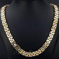 Con chiusura a moschettone Gioielli 8mm 24 '' oro argento piatto in acciaio inox bizantino Curb Link Collana a catena per amici regali di festa in vendita