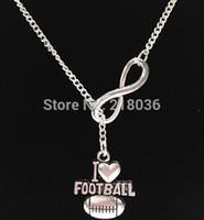 Plata de la vendimia Infinito I Love Football Charms Declaración Gargantilla Suéteres Collares pendientes Cadena Para Mujeres Accesorios Regalo 10 unids L805