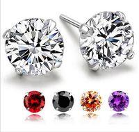 뜨거운 판매 925 스털링 실버 빛나는 다이아몬드 크라운 스터드 귀걸이 세련된 쥬얼리 아름다운 결혼 선물 / 약혼 선물 무료 배송