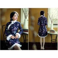 2015 الجديدة الشتاء النساء الرياح وطني الأرنب الفراء الديكور الأزياء شيونغسام فساتين الصينية اللباس حلي S-XL الحجم