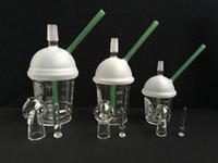 9mm / 14.5mm / 18.8mm Starbuck Fincan Şekli Su Borusu Starbuck Nargile Konsantresi Yağ Rig Cam Kubbe ile Tırnak Su Borusu Bongs