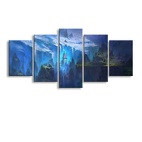 5 pieces high- definition print Glaciers canvas oil painting ...