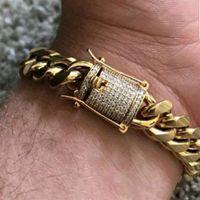 Whosales_Cool Mens catena oro tono in acciaio inox 14mm 8 pollici braccialetto Curb catena a maglia cubana con chiusura a diamante blocco bracciali Hip Hop