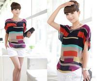 женщины блузка рубашка полоса свободные короткий рукав шифон повседневная блузка camisa feminina blusas плюс размер 01JS660