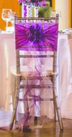 2015 الأرجواني 3d الزهور كشكش الشيفون الشريط القوس كريستال اللؤلؤ كرسي شاح كرسي يغطي زينة الزفاف اكسسوارات الزفاف