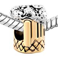 Altın bira kupa Altın ve rodyum Kaplama Boncuk metal slayt Avrupa Charm Pandora Bilezik için Fit