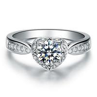 S925 gümüş yüzük Lüks 6.5mm Benzetilmiş elmas yüzükler kadınlar için Gümüş abartılı yüzükler sona elmas alyans