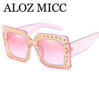 ALOZ MICC Luxo Cristal Quadrado Óculos De Sol Das Mulheres Desginer Marca Retro Oversize Óculos De Sol UV400 A340