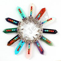 Cristal branco Vários Pedra Natural Set 7 Chakra Beads Espada Equilíbrio de Energia Reiki Pingente Encantos Cura Amuleto Chakra Jóias 14X Mix