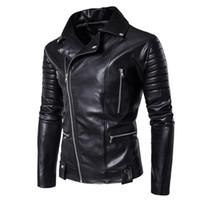 Jacken für Männer Neue Baumwoll-Winter-Winterbekleidung Freizeit-Herren-PU-Jacken Leder Harley Mantel Kragen Strickjacke Ketten Baumwolle gefütterte Jacke