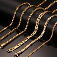 18K Real Collar de oro chapado en oro para mujeres Hombres Cadena de serpiente de acero inoxidable 20/24 pulgadas Venta al por mayor Largo Collar Joyería Regalo de fiesta de Navidad