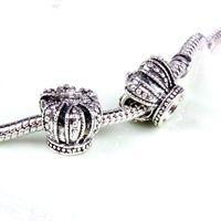 Crown retro legering charm pärla mode kvinnor smycken bedövning design europeisk stil för DIY armband halsband Panza002-20