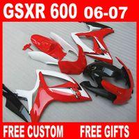 스즈키 GSXR 600750 페어링 GSX-R600 R750 2006 2007 레드 화이트 페어링 키트 06 07 GSXR600 GSXR750 무료 사용자 정의 고품질
