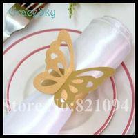 50Pcs / lot geben Verschiffen-Laser-Ausschnitt-Papierhandtuch-Schnabel-Schmetterlings-Hochzeits-Dekorationen Servietten-Ring für Hochzeits-Bevorzugungen Partei-Tisch-Dekoration frei