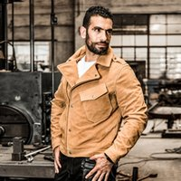 AVIRESFLY mens lapel oblique coats suede cowhide leather men...