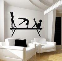92*122cm Gril wall sticker for bedroom 3girls on Gym Gymnast...