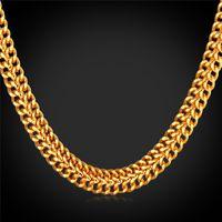 Erkekler için 18 K Damga Altın Zincir Erkekler Takı Fantezi Kolye Tasarım Altın Kaplama Yeni Moda Zincir Kolye