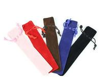 الجملة 1000 قطع رخيصة المخملية القلم الحقيبة حامل واحد كيس رصاص القلم حالة حبل قفل هدية حقيبة