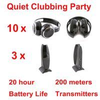 Écouteurs sans fil pliants noirs du système Silent Disco - Ensemble Quiet Clubbing Party (10 casques + 3 émetteurs)
