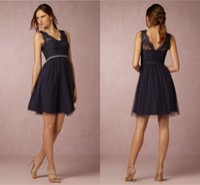 네이비 블루 신부 들러리 드레스 2021 A-Line V-Neck 무릎 길이 레이스 하녀 명예 특별 행사 드레스가 싼