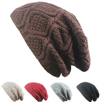 Soft Chunky Beanie Simple Style Wool Knitted Heap Hats For M...