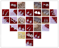 Hot New style mixed 50pair women's girl earring 925 sterling silver jewelry factory price Fashion Jewelry Manufacturer Free Shipping