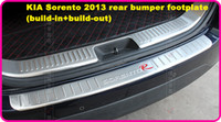 Free ship!High quality stainless steel 2pcs(build-in+Build-out) rear bumper footplate,rear bumper protection bar for Kia sorento 2013-2015