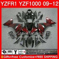 차체 용 YAMAHA YZF 1000 R 1 YZF-1000 YZF-R1 09 12 빨간색 불꽃 바디 85NO11 YZF1000 YZFR1 09 10 11 12 YZF R1 2009 2010 2011 2012 페어링