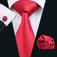 Быстрая доставка красных галстуках Mens высокого качества Silk Hanky Запонки Jacquard Woven красный формальный галстук для мужчин Галстук Set N-0206