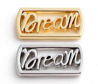 20pcs / lot placcato oro argento lettera sogno finestra galleggianti piatti adatti per memoria magnetica 30 millimetri di vetro di fascini di fascino