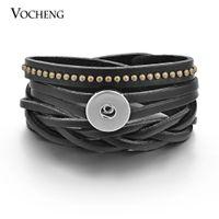 Vocheng NOOSA Bracciale in vera pelle Ginger Snap gioielli 3 colori intercambiabili 18mm Button NN-286